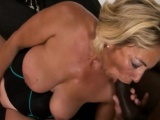 Blonde Granny Sarah Takes Huge Black Rod On Couch