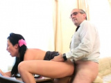 Packing monster riding by dazzling russian bombshell