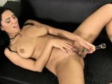 Stocking-clad babe pissing all over herself