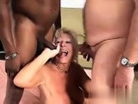 Blonde big boobs Helena White on a hardcore threesome action