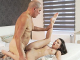 Old man masturbating girl and guy have sex with young