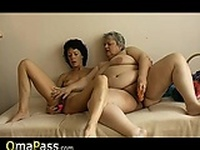 Old chubby granny has fun with old sexy Mature