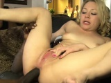 Pretty blonde babe double stuffed by huge black cocks